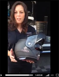 Sarah Shilke demos the Schuberth C3 for Women Motorcycle Helmet at Women On Wheels International Ride-In